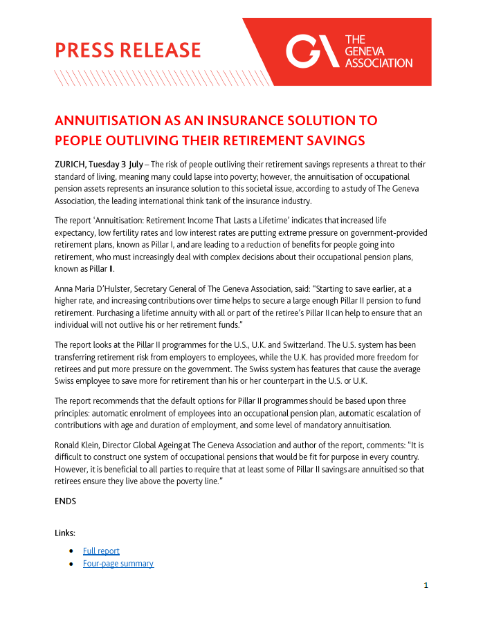 Annuitisation as an insurance solution to people outliving their retirement savings