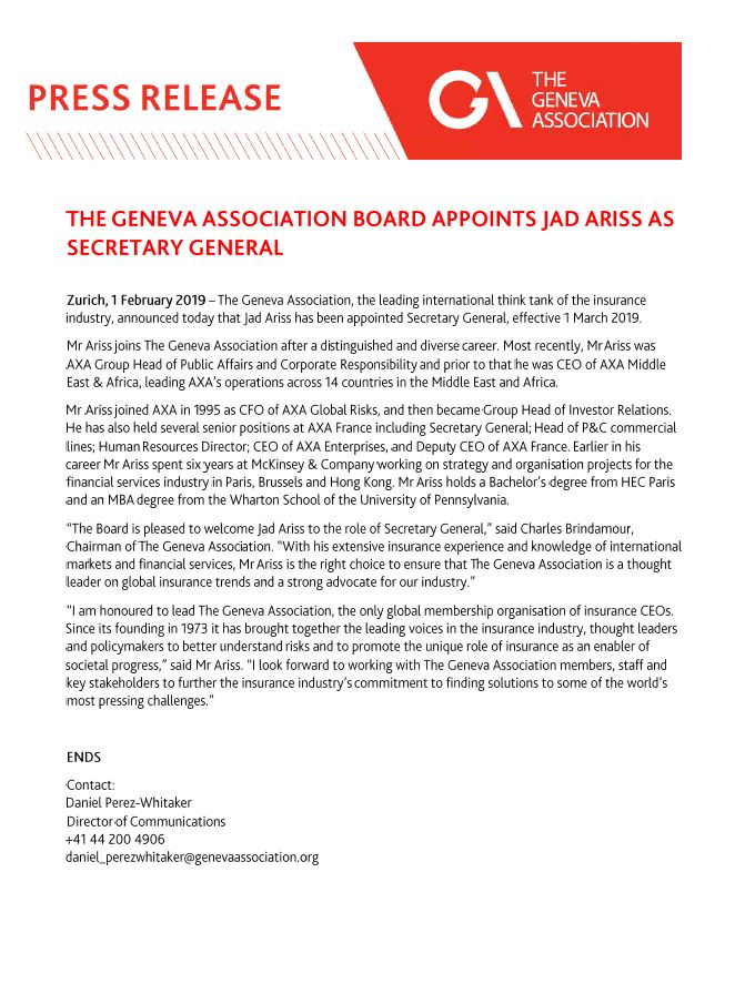 The Geneva Association Board appoints Jad Ariss as Secretary General