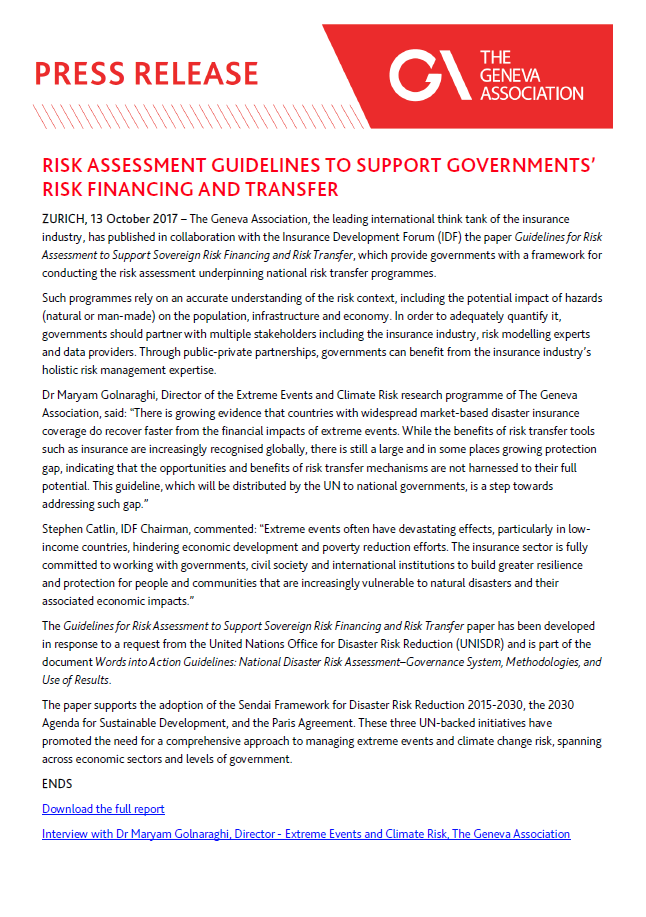 Risk Assessment Guidelines to Support Governments' Risk Financing and Transfer