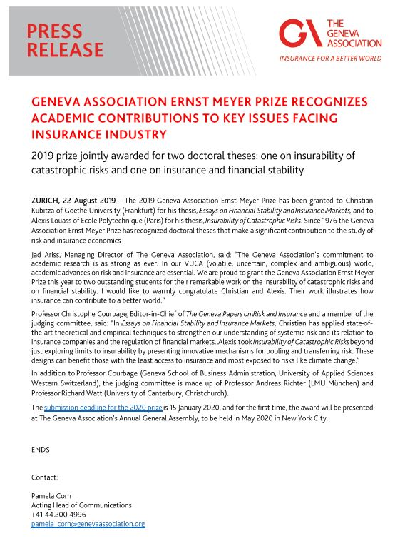 Geneva Association Ernst Meyer Prize Recognizes Academic Contributions to Key Issues Facing Insurance Industry
