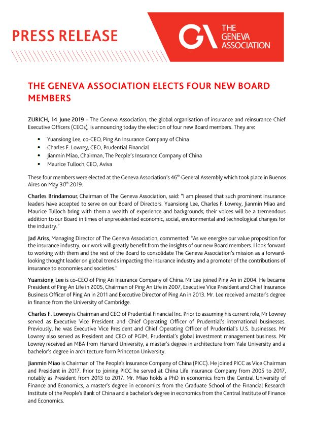 The Geneva Association elects four new Board members