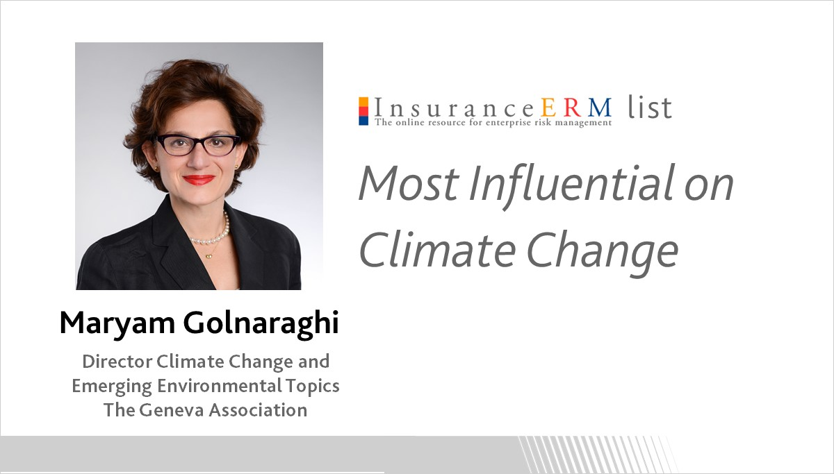 Maryam Golnaraghi on InsuranceERM's 'Most Influential on Climate Change' list