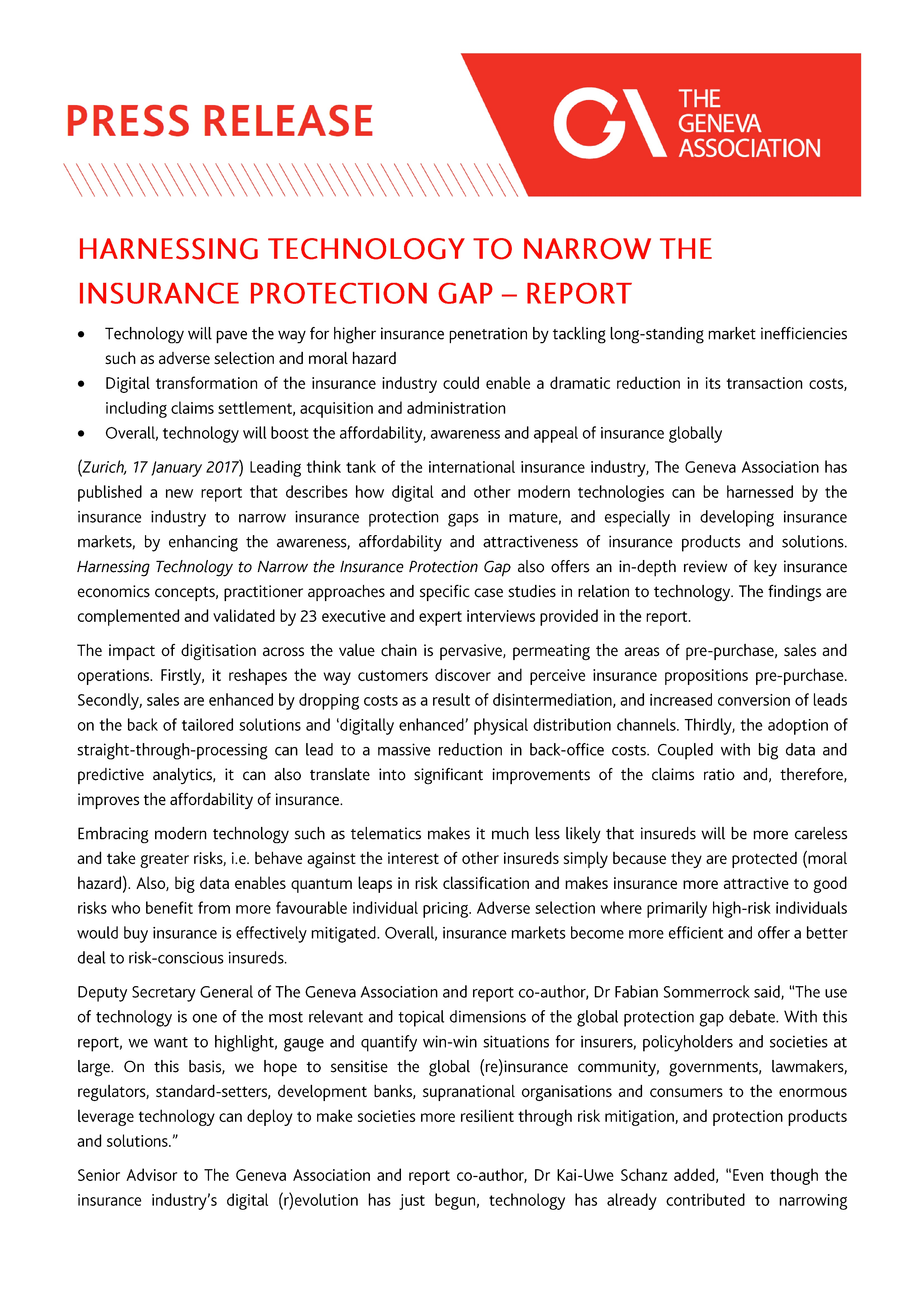 Press Release: Harnessing Technology to Narrow the Insurance Protection Gap