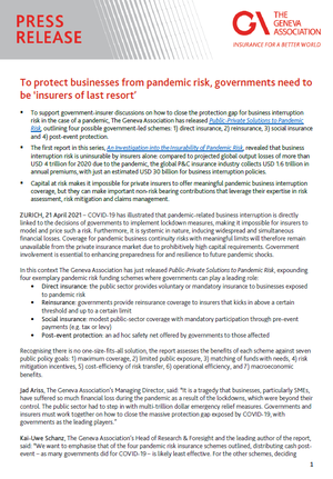 Press release: To protect businesses from pandemic risk, governments need to be 'insurers of last resort'