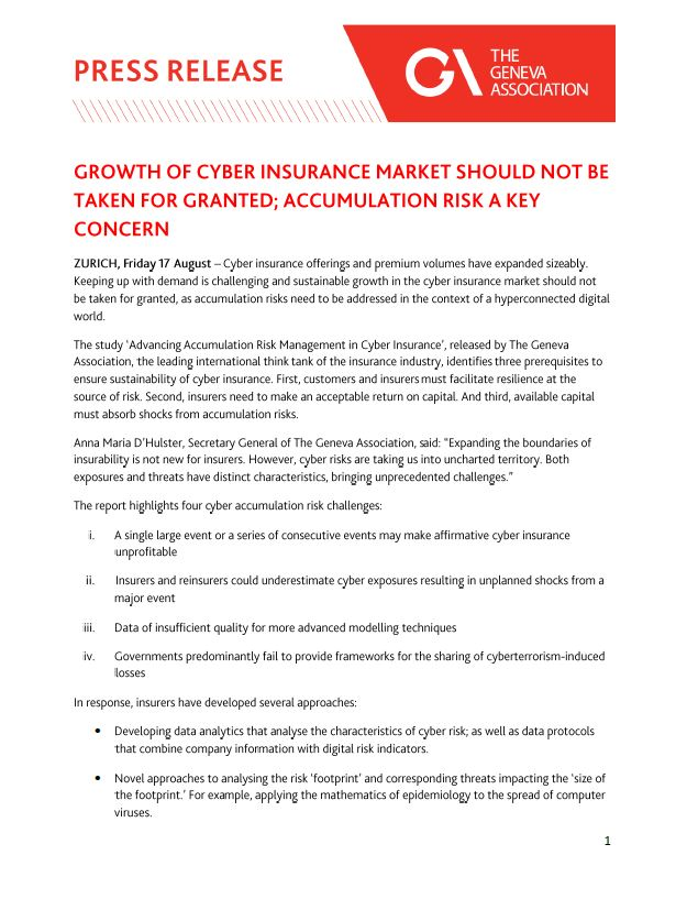 Growth of cyber insurance market should not be taken for granted; accumulation risk a key concern