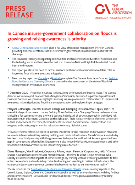 In Canada insurer-government collaboration on floods is growing and raising awareness is priority