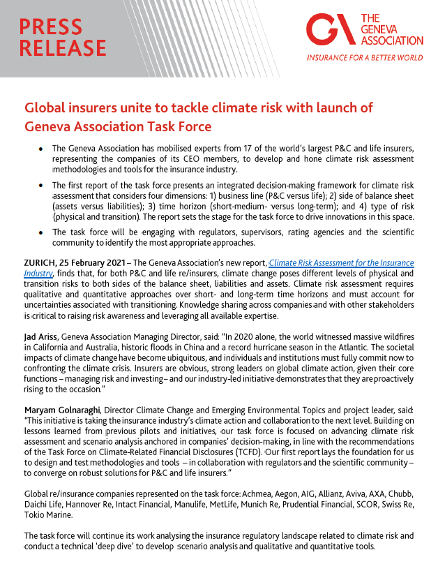 Press Release: Global insurers unite to tackle climate risk with launch of Geneva Association Task Force