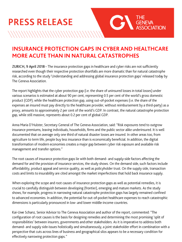 Insurance Protection Gaps in Cyber and Healthcare more acute than in Natural Catastrophes