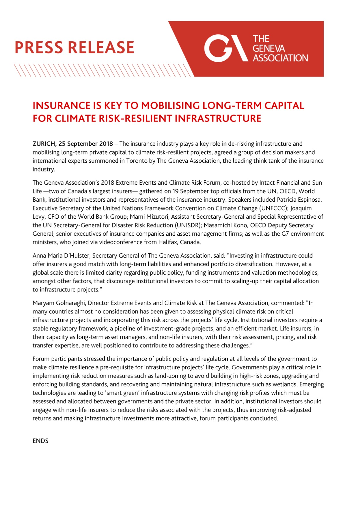 Insurance is key to mobilising long-term capital for climate risk-resilient infrastructure