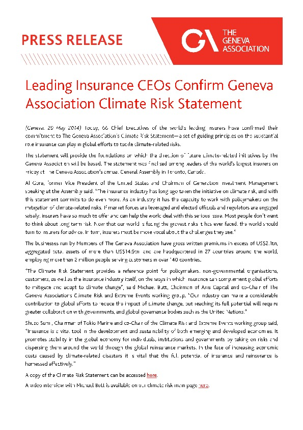 Leading insurance CEOs Confirm The Geneva Association's Climate Risk Statement