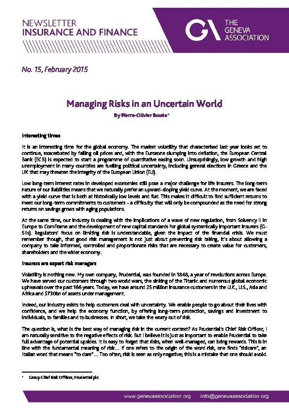 Managing Risks in an Uncertain World   Geneva Association