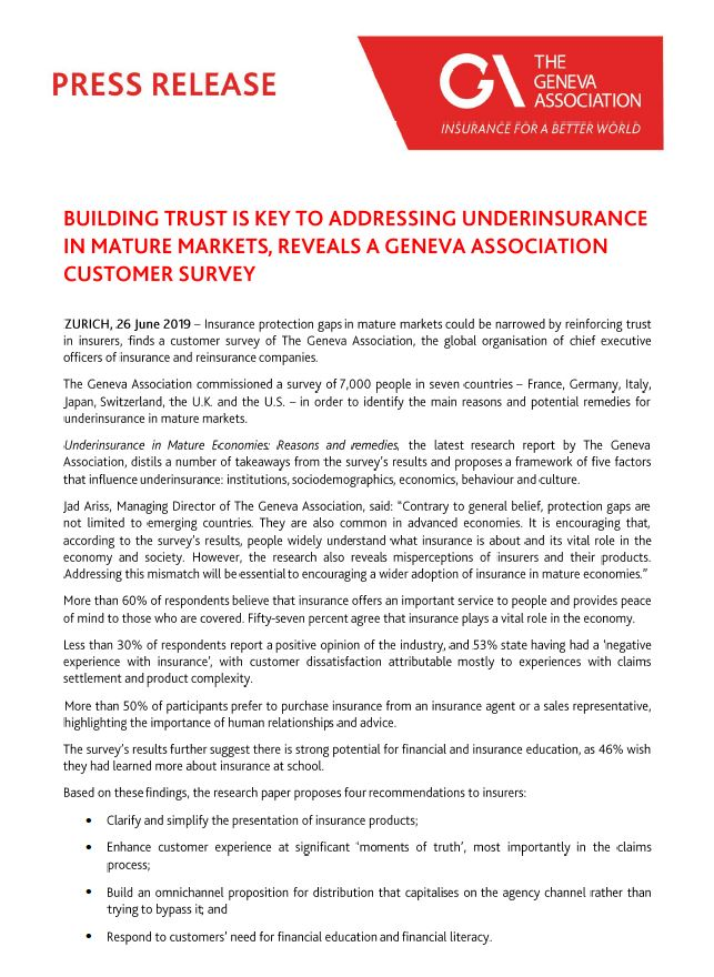 Building trust is key to addressing underinsurance in mature markets: Geneva Association customer survey